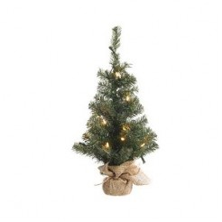 Everlands Mini kerstboom in jute zak 90cm groen/warm wit