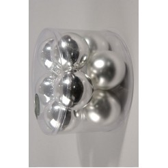 Koker a 10  kerstballen 60mm zilver