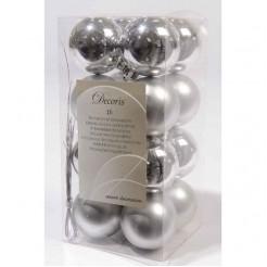 Zilveren onbreekbare kerstballen 40 mm glas en mat