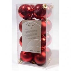 Rode onbreekbare kerstballen glas en mat 16 stuks
