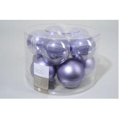 Koker kerstballen glas  60mm lila