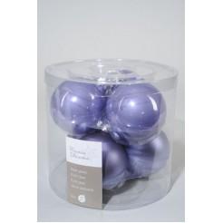 Koker kerstballen glas 80mm lila
