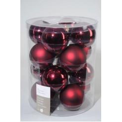 Koker kerstballen glas 80mm ossenbloed