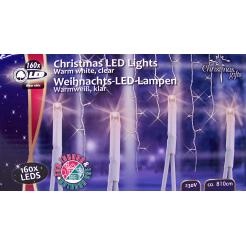 Kerstverlichting ijspegels wit 160 LEDS